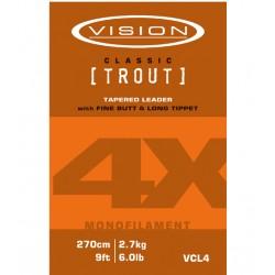 Bas de ligne truite VISION 5X 9ft/270cm 4.4lb/2kg