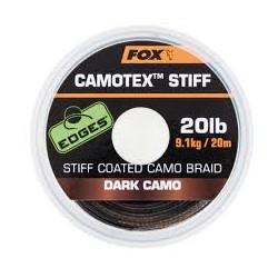 Tresse gainée rigide Camotex FOX SEMI stiff Dark camo 20m 20Lbs
