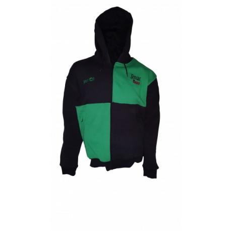 Sweat à tirette SENSAS Harlequin Noir - Vert à Capuche Taille XL