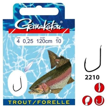 Bas de ligne GAMAKATSU Trout 2210S n°10 0.16mm 45cm