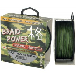 Tresse POWERLINE Braid power 0.25mm 1000m Camouflage 22kg